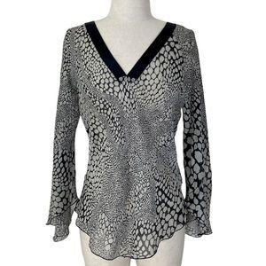 Bebe black white silk flutter sleeve blouse